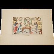 Antique Hand Colored Italian Satirical Engraving Surgeons Caricature