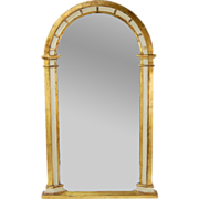 Vintage Giltwood Panel Arched Wall Mirror