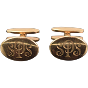 Vintage 1950's Pair 10K Yellow Gold Cuff Links Cufflinks Monogrammed SPS