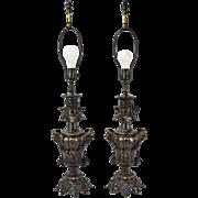 Pair Ornate Antique Style Bronze Lamps Grotesque Masks & Acanthus Leaf Motif
