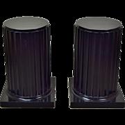 Pair Neo-Classical Black Wood Doric Column Pedestals Sculpture Stands
