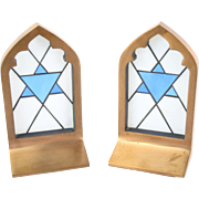 Vintage Pair Bronze and Stained Glass Jewish Star of David Bookends Book Ends