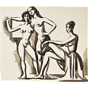 Original Andre Delfau Watercolor Painting Three Nudes Embracing