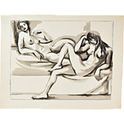 Original Andre Delfau Watercolor Painting Two Nudes Reclining On Divan