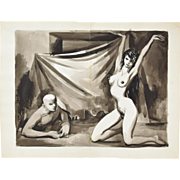 Andre Delfau Original Watercolor Painting Nude Dancer w Bald Man Watching