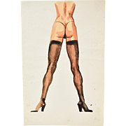 Andre Delfau Original Watercolor Painting Nude Woman In Thong Thigh High Stockings