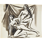 Andre Delfau Original Watercolor Painting Pair of Nude Women Posing
