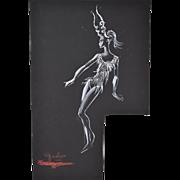 Andre Delfau Original Watercolor Painting Surrealist Dancer Costume