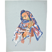 Original Color Watercolor Painting Middle Eastern Woman In Headscarf Andre Delfau
