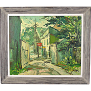 Vintage Mid-Century Abstract Street Scene New Orleans? Rockport? sgnd Sobossek