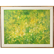 "Vintage 1968 Mid-Century Abstract Oil Painting ""Flower Garden"" signed"
