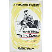 "1958 Original ""Two for the Seesaw"" Broadway Theatre Poster Fonda Bancroft"
