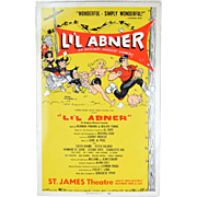 1956 LI'L ABNER Broadway musical Window Card Poster cartoon art Al Capp