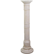 Vintage Tall White Spanish Marble Pedestal Sculpture Plant Stand