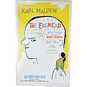 "Orig Broadway Window Card Poster ""The Egghead"" Karl Malden Hume Cronyn"