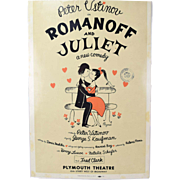 1957 Original Romanoff & Juliet Broadway Theatre Window Card Peter Ustinov as-is