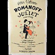 1957 Original Romanoff & Juliet Broadway Theatre Window Card Peter Ustinov as-is
