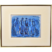 Mid-Century Painting in Blue Gouache on Foil by George Cermak Yugoslavian