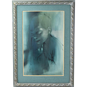 1964 Vintage Mid-Century Oil Painting Ethereal Portrait of Boy Duvall Chicago