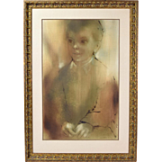 1969 Vintage Mid-Century Oil Painting Ethereal Portrait of Boy Duvall Chicago