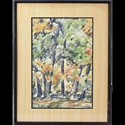 1964 Vintage Mid-Century Woodland Landscape Watercolor Painting Sgnd J. Kramer