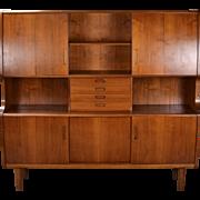 Large Vintage  Mid-Century Danish Modern Teak Cabinet Hutch Denmark