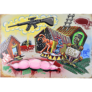 """Home Town"" Kate Barrere Bizarre Painting on Metal Found Object"