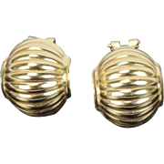 Estate Vintage 14k Yellow Gold Earrings Ribbed Sphere Chinese Lantern Shapes