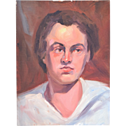 Vintage Oil Painting Portrait of Young Man in White Shirt Gazing Left