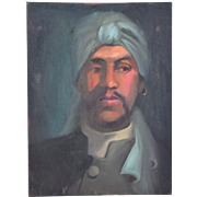 Vintage Oil Painting Portrait of North African Man in Turban