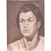 Vintage Oil Painting Portrait of Young Man in White T-Shirt Sepia Tone