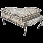 Antique Silver Miniature Grand Piano Figural Snuff Box Hanau Germany