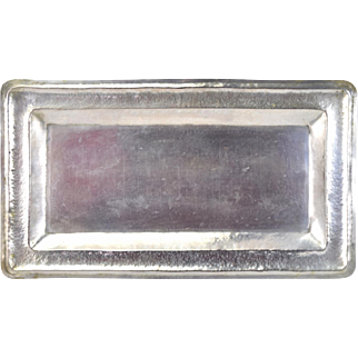 Vintage Hand Hammered Ecuadorian .900 Sterling Silver Rectangular Bread Tray
