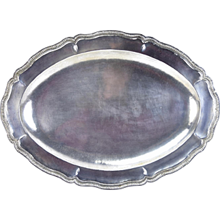 Vintage Hand Hammered Ecuadorian .900 Sterling Silver Large Serving Tray #2