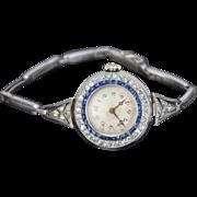Gorgeous Vintage French Art Deco Platinum Diamond and Sapphire Ladies Watch