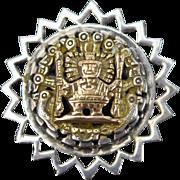 Vintage 18k Yellow Gold Sterling Convertible Pendant Brooch Inca Aztec Mayan Figure