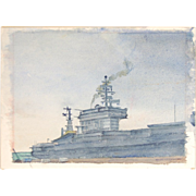 Vietnam Era Watercolor Painting of Aircraft Carrier USS Nimitz 68