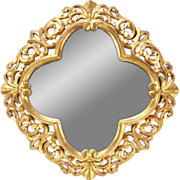 Vintage Continental Carved Pierced Quatrefoil Wall Mirror Gilt Wood