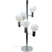 Vintage Mid-Century Modern 5 Light Atomic Chrome Table Lamp