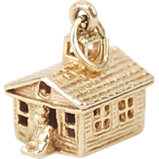 Vintage Estate 1976 14k Gold One-Room Schoolhouse Charm Pendant w Teacher