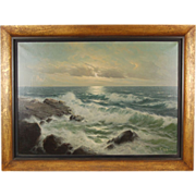 Vintage German Seascape Oil Painting Surf Pounding Rocks signed Walther Dettmann