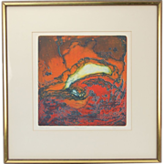 """The Wave"" Mid-century Abstract L/E Lithograph Signed Spitz Chicago Artist"