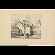 AUGUSTE LOUIS LEPERE – Vieille maisons à Amiens, 1910 Etching