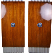 Pair Custom Art Deco China or Bar Cabinets Crinkle Cut Top and Bottom