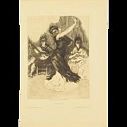 ALEXANDRE LUNOIS – Flamenca Dancer Beaux Arts Edition Etching 1912