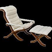 Mid Century Modern Ingmar Relling Westnofa Siesta White Leather Sling Arm Chair Ottoman