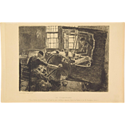 MAX LIEBERMANN LE TISSERAND The Weaver Workshop 19th Century ETCHING