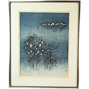 """Mid-Century Modern Abstract Etching """"Cite Nocturne"""" Night City Nono Reinhold"""