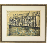 Mid-Century Bernard Gantner L/E Lithograph Abstracted Canal Houses in Bruges