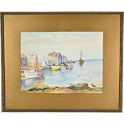 1944 Watercolor Menemsha Bight Martha's Vineyard Massachusetts by Cram